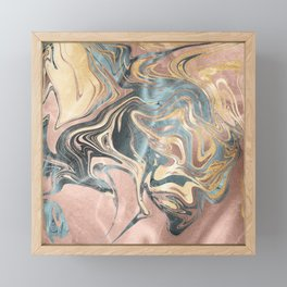 Liquid Gold and Rose Gold Marble Framed Mini Art Print