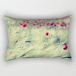 Poppies in cornfield Rectangular Pillow