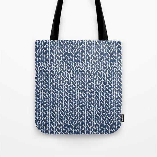Hand Knit Navy Tote Bag