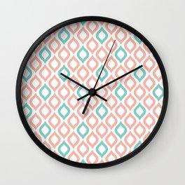 Geometric Peach and Turquoise Wall Clock