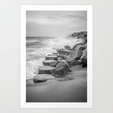 Rocks on the Sea Wall at Fort Fisher NC Sepia Black and White Art Print