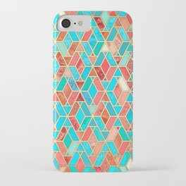 Melon and Aqua Geometric Tile Pattern iPhone Case