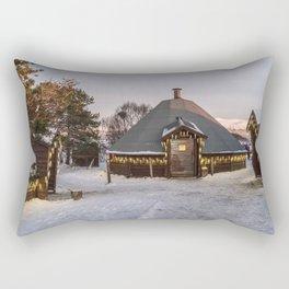 Snowy Hut Landscape (Tromso, Norway) Rectangular Pillow