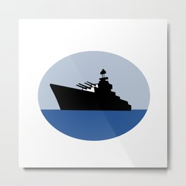 World War Two Battleship Destroyer Oval Retro Metal Print