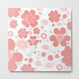 Flower power pattern CORAL Metal Print