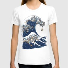 The Great Wave of Pug White Womens Fitted Tee MEDIUM