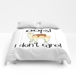 I Don't Care Sloth Llama Lover Sarcasm Sarcastic Misanthrope Comforters