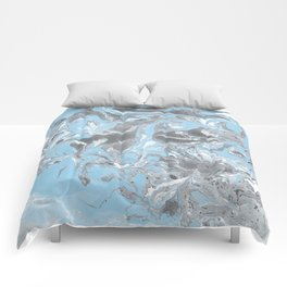 Cyan and grey Marble texture acrylic Liquid paint art Comforters