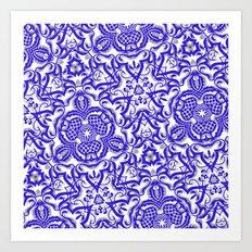 Blue antik lace Art Print