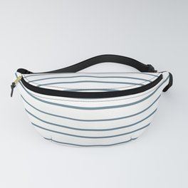 Inspired by Behr Blueprint Blue S470-5 Hand Drawn Horizontal Lines on White Fanny Pack