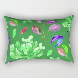 Green Floral Rectangular Pillow
