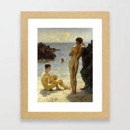 Lovers of the Sun by Henry Scott Tuke Framed Art Print