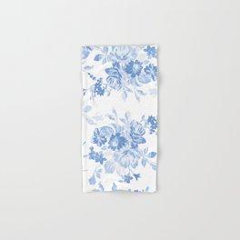 Modern navy blue white watercolor elegant floral Hand & Bath Towel