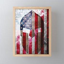 Molon Labe - Spartan Helmet Across An American Flag On Distressed Metal Sheet Framed Mini Art Print
