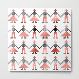 Romanian Hora people cross-stitch pattern white Metal Print