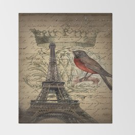 I love Paris Shabby chic Robin French Scripts Jubilee Crown Vintage Paris Eiffel Tower Throw Blanket