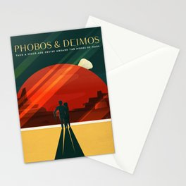 Phobos & Deimos Take a Space Age Cruise Aboard The Moon of Mars Space Travel Poster Stationery Cards