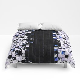Blue Accent Black And White Square Tiled Ceramic Mosaic Pattern Comforters