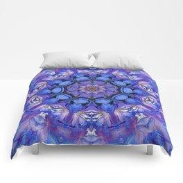 Summer sky Delphinium mandala Comforters