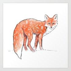 A forest fox Art Print