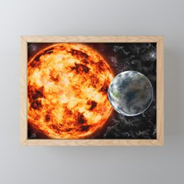 Planet Earth-Sun-Space Framed Mini Art Print