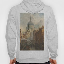 London skyline, view of St Paul's Cathedral and Fleet Street, illustration from Victorian era Hoody
