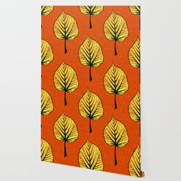 Yellow Linden Leaf On Orange Botanical Art Wallpaper