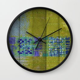 Olive & Blue Abstract Art Collage Wall Clock