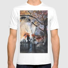 Autumn rain - watercolor Mens Fitted Tee MEDIUM White