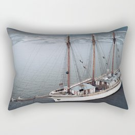 Sailing Ship in front of a Mountain Valley in Norway Rectangular Pillow