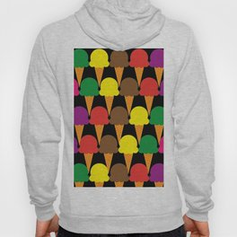 Crayon Colored Ice Cream Cone Snack and Sweet Treat on Black Hoody