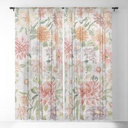 Loose Peachy Dahlia Watercolor Bouquet Sheer Curtain