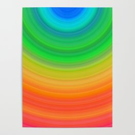 Rainbow Smile Colored Circles Summer Pattern Poster