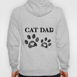 Cat Dad text. Doodle cat paw print and heart Hoody