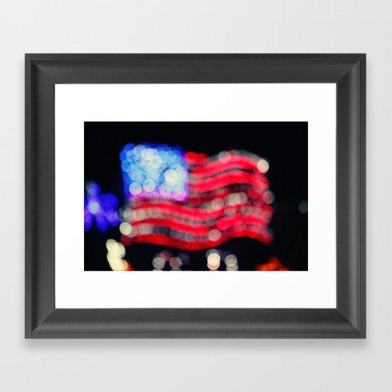 Red, White, and Bokeh Framed Art Print