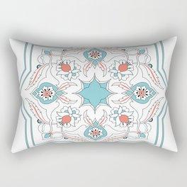 Turquoise Floral Tile Art Rectangular Pillow