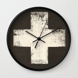 Ski Patrol Sign Cross X Vintage Wall Clock
