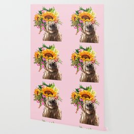 Sunfowers crown Highland Cow in Pink Wallpaper