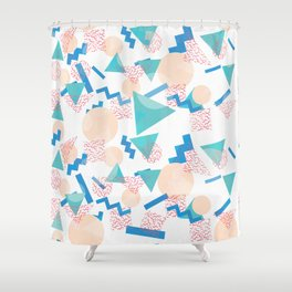 90's Pastel Geometric Pattern Shower Curtain