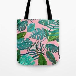 pinky tropical leaves Tote Bag
