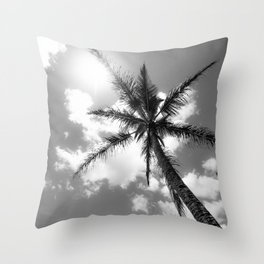 Tropical Palm Trees Black and White Throw Pillow