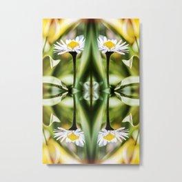 Beautiful small common Daisy flowers macro surreal shaped symmetrical kaleidoscope Metal Print