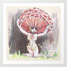 Empire of Mushrooms: Rhodotus palmatus Art Print
