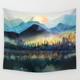 Mountain Lake Under Sunrise Wall Tapestry