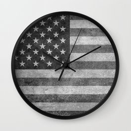 US flag - retro style in grayscale Wall Clock