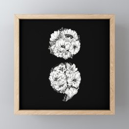 floral semicolon monochrome Framed Mini Art Print