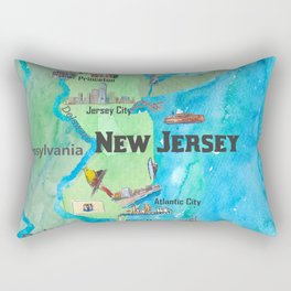 USA New Jersey State Travel Poster Map with Touristic Highlights Rectangular Pillow