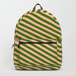 Bisque, Dark Goldenrod, Green, and Light Coral Colored Lines Pattern Backpack