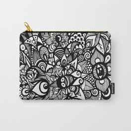 Floral Flowers Black and White Carry-All Pouch