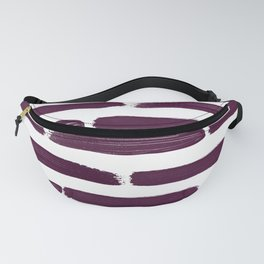 Modern Girly Wine Purple Brushstroke Stripes Fanny Pack